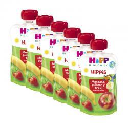 Pouches manzana platano y fresa bio 6x100g Hipp - Imagen 1
