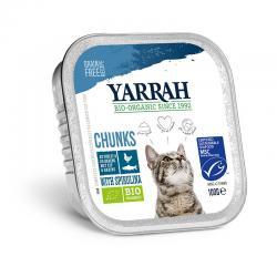 Trozos para gatos con pescado tarrina bio 100g Yarrah - Imagen 1