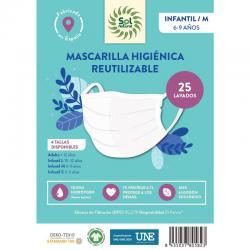 Mascarilla Algodon Organico reutilizable INFANTIL/M Sol Natural - Imagen 1