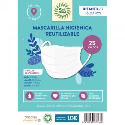 Mascarilla Algodon Organico Higienica reutilizable INFANTIL/L Sol Natural - Imagen 1