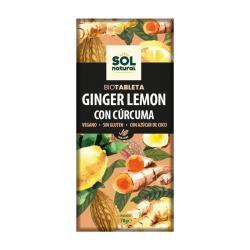 Tableta chocolate jengibre limon y curcuma bio 70g Sol Natural - Imagen 1