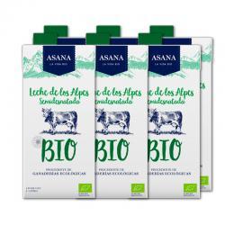 Leche de vaca semidesnatada bio 6x1L Asana - Imagen 1